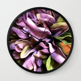 Lavender Pink Floral And Lush Leaf Art Close-Up Wall Clock