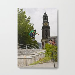 Manny Santiago   Skateboard   Kickflip Rail Metal Print