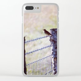 Bird on a fence Clear iPhone Case