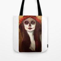 sugar skull Tote Bags featuring Sugar Skull by LaurenceBaldetti