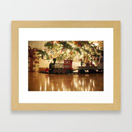 Christmas Tree and Train Framed Art Print