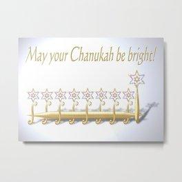 May your Chanukah be bright, golden menorah or chanukiah Metal Print