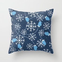 Snowflakes & Winter Gloves Throw Pillow