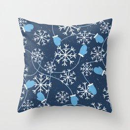 Snowflakes & Winter Gloves Throw Pillow