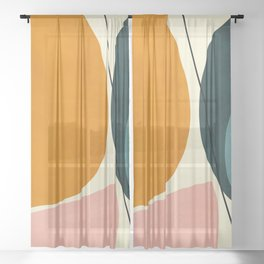 shapes geometric minimal painting abstract Sheer Curtain