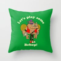 cowboy bebop Throw Pillows featuring Bebop by Giovanni Costa