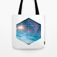 guardians of the galaxy Tote Bags featuring Galaxy Guardians by GeoDesigned
