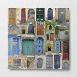 doors in bruges and rural france - a beautiful collage - browns blues greens brown blue green Metal Print