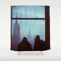 manhattan Shower Curtains featuring Manhattan by Mt Zion Press