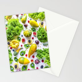 Fruits and vegetables pattern (1) Stationery Cards