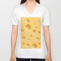 cheese V-neck T-shirts featuring cheese by rchaem