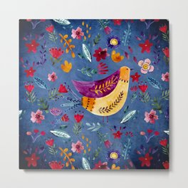 The Early Bird in Flower Garden Metal Print
