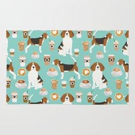 Beagle coffee print cute dog beagles coffees lattes Rug