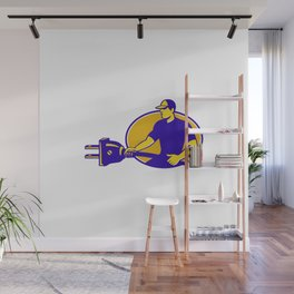 electrician plugging holding electric plug Wall Mural