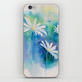 Spring watercolor daisies painting iPhone Skin