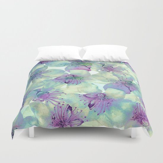 soft floral with purple Duvet Cover
