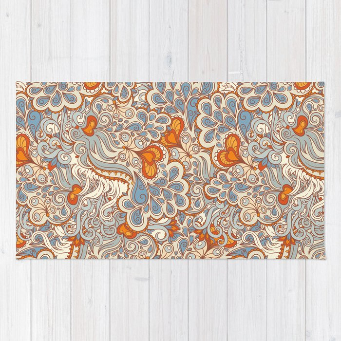 orange and blue pattern rug by melazerg society6. Black Bedroom Furniture Sets. Home Design Ideas