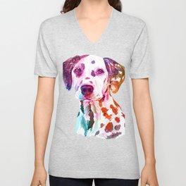Distressed Cute Dalmatian Dog Unisex V-Neck