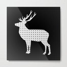 Black and white deer Metal Print