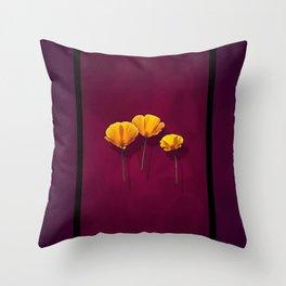 Three Poppies Throw Pillow