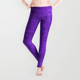 Bright Neon Purple Brick Wall Leggings