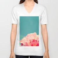 shabby chic V-neck T-shirts featuring Shabby Chic Rose Photograph by Scarlett Ella