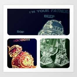 R2D2 AND BB8 FORCE COLORS Art Print