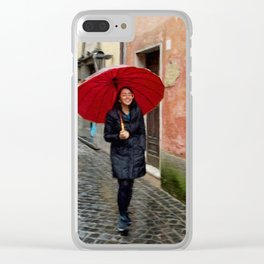 Girl with Red Umbrella Clear iPhone Case