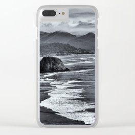 Landscape Ecola State Park in Black and White Clear iPhone Case