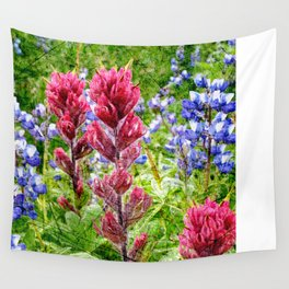 Scratched Lupine and Paintbrush Wall Tapestry