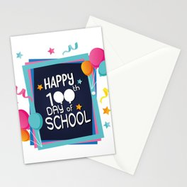 Happy 100th Day Of School For Teacher Or Kids Stationery Cards