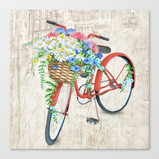 Red bike & white daisy Canvas Print