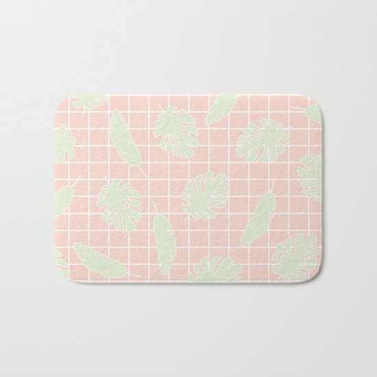 Graphic Tropical Leaves on Grid Pink and Mint Green Bath Mat