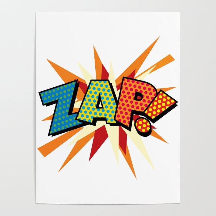 ZAP Comic Book Modern Pop Art Fun Colorful Cool Graphic Poster