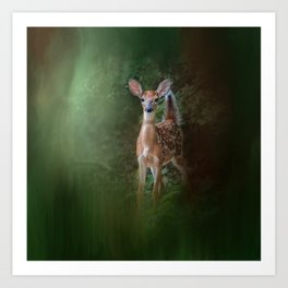Woodsy Summer Fawn Art Print