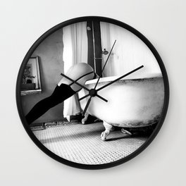 Head Over Heals - Female in Stockings in Vintage Parisian Bathtub black and white photography - photographs wall decor Wall Clock