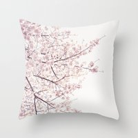 cherry blossom Throw Pillows featuring cherry blossom by Neon Wildlife