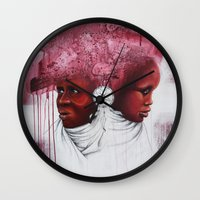 african Wall Clocks featuring African  by Sebastian Wandl