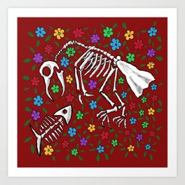Bird and Fish Skeletons on Bed of Flowers Art Print