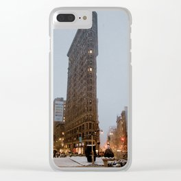 Snow in new york Clear iPhone Case