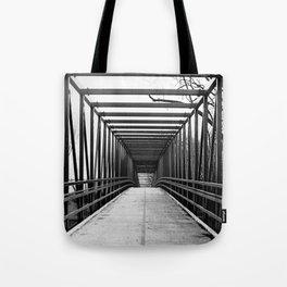 Bridge to Nowhere Black and White Photography Tote Bag