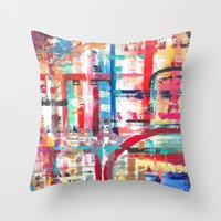 headphones Throw Pillows featuring Headphones by JillAshleyFortinART