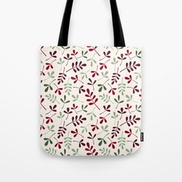 Assorted Leaf Silhouettes Ptn Reds Greens Cream Tote Bag