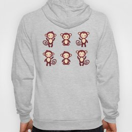 Set of funny brown monkey boys and girls on white background. Vector illustration Hoody