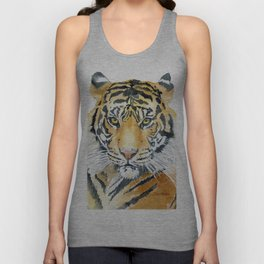 Tiger Watercolor Painting Unisex Tank Top