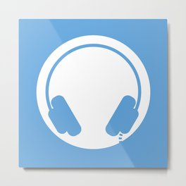 Symbol: Headphones white on blue Metal Print