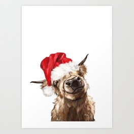 Christmas Highland Cow Art Print
