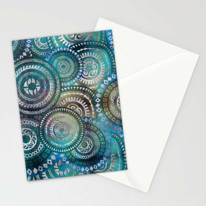 Gentle Blue Circular Tribal  pattern with silver Stationery Cards
