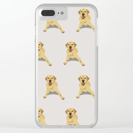 Yellow Labrador Pattern - Grey Clear iPhone Case