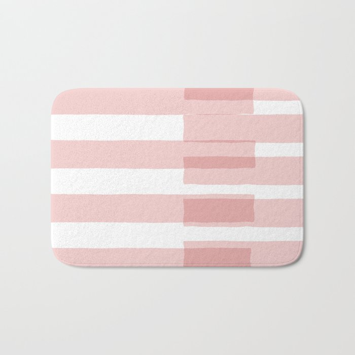 Big Stripes in Pink Bath Mat